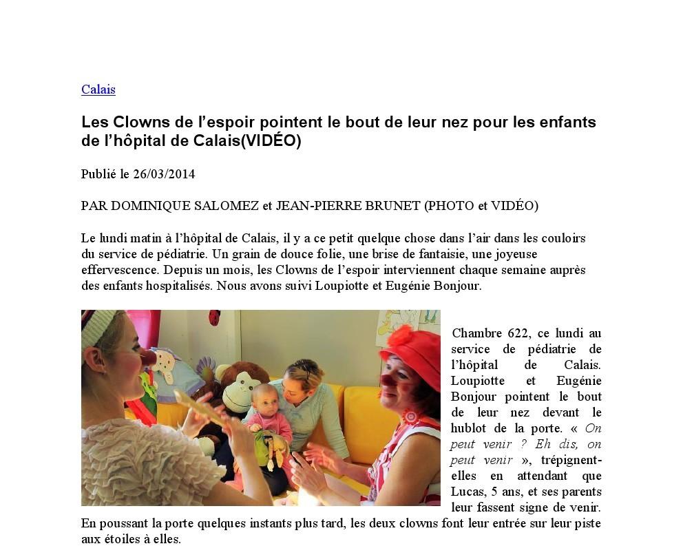Les Clowns de l'espoir pointent le bout de leur nez pour les enfants de l'hôpital de Calais / 2014