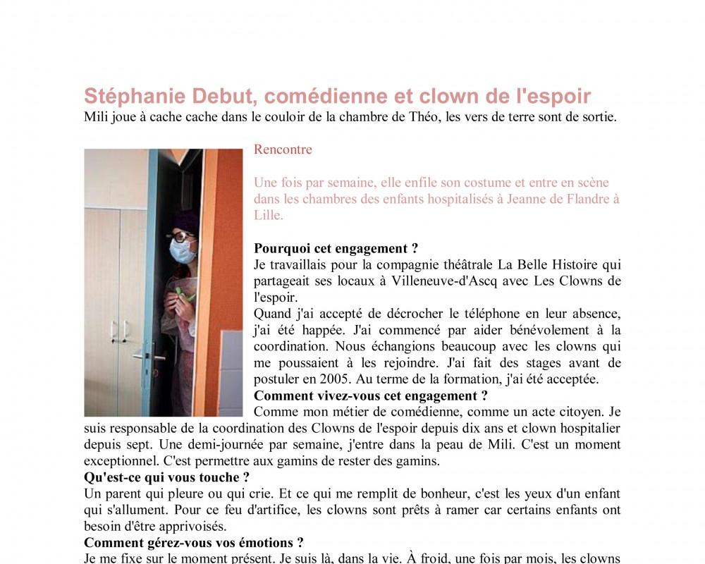 Stéphanie Debut, comédienne et clown de l'espoir / 2012