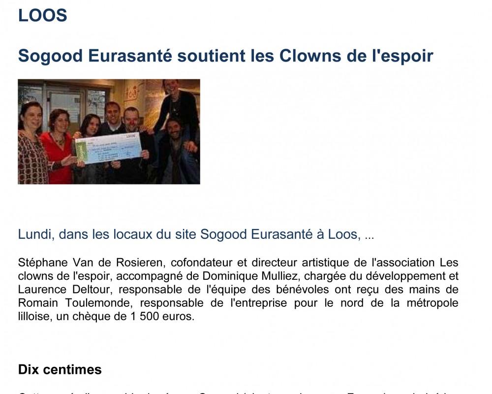 Sogood Eurasanté soutient les Clowns de l'espoir / 2012