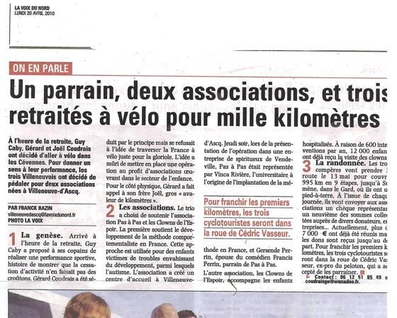 Un parrain, deux associations, et trois retraités à vélo pour mille kilomètres / 2010