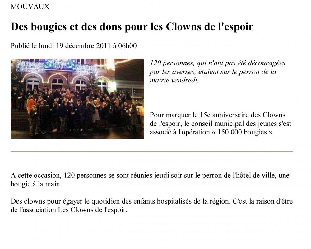 Des bougies et des dons pour les Clowns de l'espoir / 2011